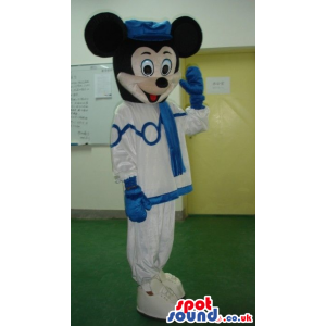 Mickey Mouse Disney Mascot Wearing Blue And White Clothes -