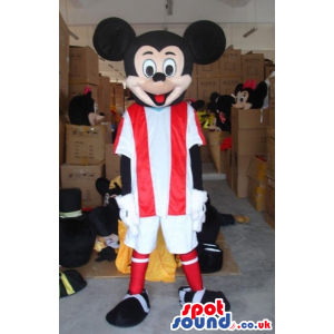 Mickey Mouse Disney Cartoon Character Wearing Football Clothes