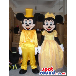 Mickey And Minnie Mouse Disney Characters Wearing Yellow