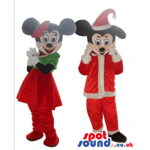 Mickey And Minnie Mouse Disney Mascots Wearing Christmas