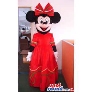 Minnie Mouse Disney Mascot Character Wearing Long Red Dress -