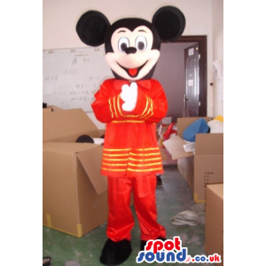 Mickey Mouse Disney Cartoon Character Wearing Exotic Red