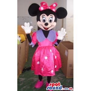 Minnie Mouse Disney Mascot Wearing A Pink And Purple Dress -