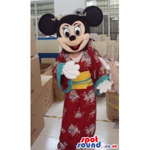 Minnie Mouse Disney Mascot Wearing A Japanese Kimono - Custom