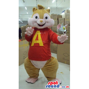 Alvin It Chipmunk Popular Movie Character Mascot With T-Shirt -