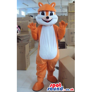 Orange Plain Chipmunk Plush Animal Mascot With A White Belly -