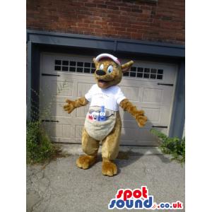 Beige Kangaroo Animal Mascot Wearing A Cap And A T-Shirt -