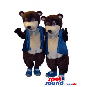 Two Brown Bear Animal Mascots Wearing A Blue Neck Tie And