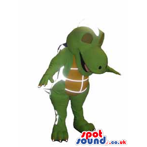 Intergalactic Green Dinosaur Mascot With A Brown Belly - Custom