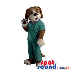Brown Dog Animal Mascot Wearing Vet Doctor Clothes - Custom