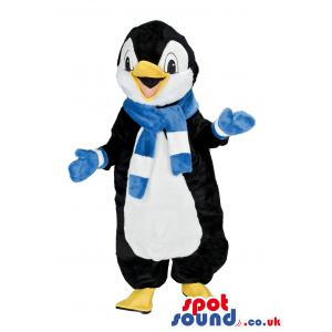 Penguin mascot talking with blue muffler and blue gloves -