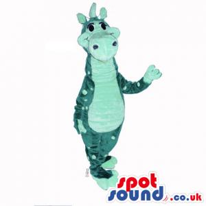 Customizable All Green Dragon Plush Mascot With Big Dots -