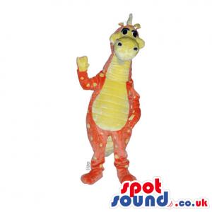 Customizable Orange And Purple Hairy Dragon Plush Mascot -