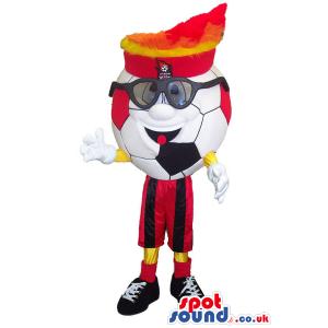 Football Character Mascot Wearing Glasses And A Hat - Custom