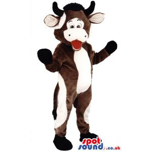 Brown and white cow mascot standing and opening his mouth -