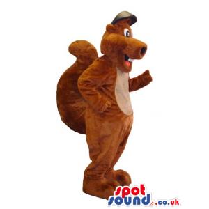 All Brown Squirrel Animal Plush Mascot Wearing A Cap - Custom