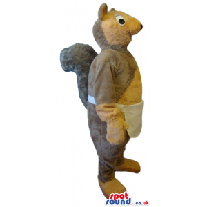 Grey And Beige Squirrel Animal Plush Mascot Wearing An Apron -
