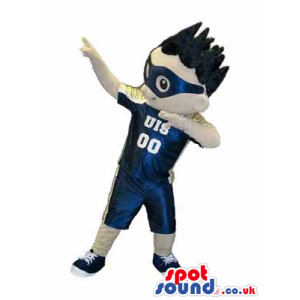 Boy Character Mascot Wearing Sports Clothes And Glasses -