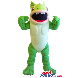 Green Flashy Creature Mascot That Looks Like A Big Toy - Custom