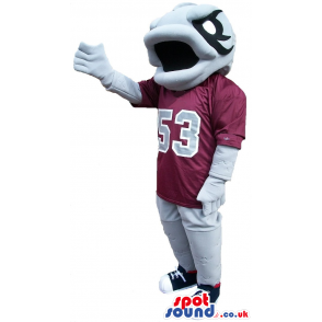 Grey Fish Plush Mascot Wearing Sports Clothes With Number 53 -