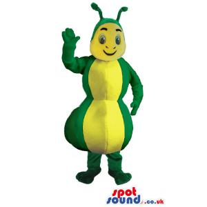 Yellow-green bee mascot with cute antenna and wings - Custom