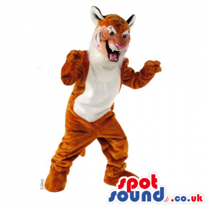 Tiger Animal Plush Mascot With A White Belly And Funny Face -