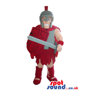 Ancient Roman Soldier Mascot Wearing A Helmet And Red Clothes -