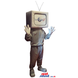 Silver Tv Mascot With A Body And Without A Face And A Logo -