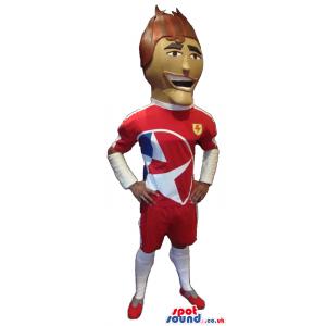 Human Character Mascot Wearing Football Player Clothes - Custom