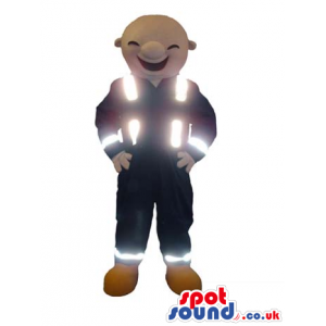 Human Character Mascot Wearing Reflecting Vest And Clothes -