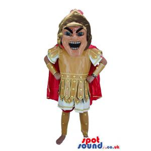 Soldier from roman in typical brown white costume & red cloak -