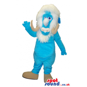 Blue Mammoth Animal Mascot With A White Beard And Horns -