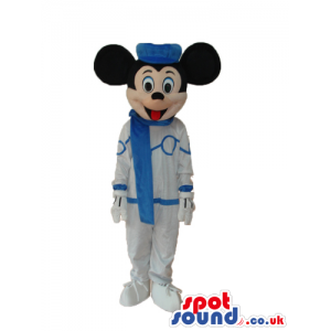 Mickey And Minnie Mouse Disney Mascots Wearing Winter Clothes -