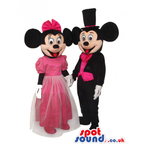 Mickey And Minnie Mouse Disney Characters Wearing Pink Clothes