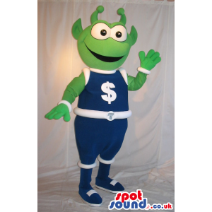 Cute Green Alien Mascot Wearing Space Clothes With Dollar Sign