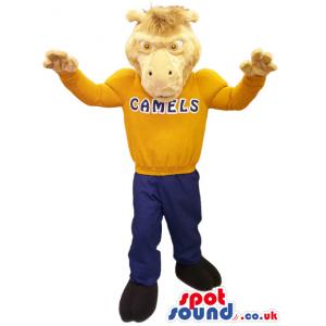 Light Brown Camel Plush Animal Mascot With Sports Sweatshirt -