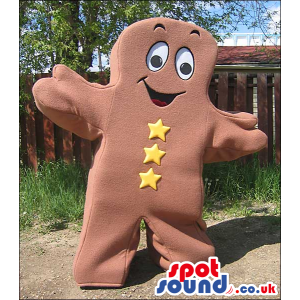 Brown Ginger Bread Man Or Chocolate Mascot With Buttons -
