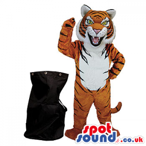 Black Rucksack Bag And Furious Tiger With White Belly Mascot -