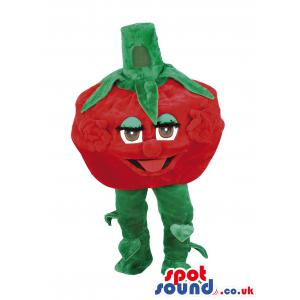Lovely tomato mascot with hands and legs showing his tongue -