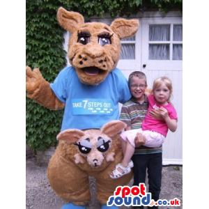 Brown Kangaroo Animal Plush Mascot Wearing A Blue T-Shirt -
