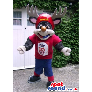 Grey Reindeer Animal Mascot Wearing Red And Blue Sports Clothes