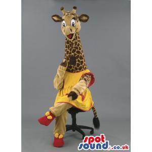 Modern girl giraffe mascot sitting on a stool and looks very