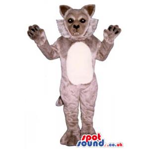 Grey Wildcat Plush Animal Mascot With A White Belly - Custom
