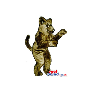 Customizable All Brown Cat Animal Plush Mascot With Long Tail -