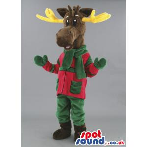 Deer mascot in brown and with green gloves and brown socks -