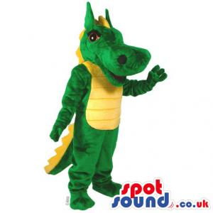 Green Dragon Fantasy Plush Mascot With Yellow Belly - Custom