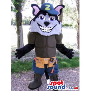 Wolf Animal Mascot Wearing A Letter Cap And Shorts With Tools -