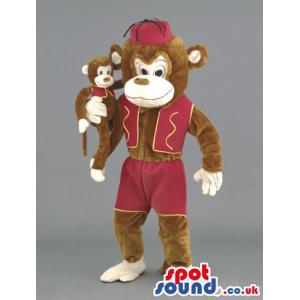 Brown monkey mascot with a maroon cap with the baby monkey -