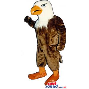 Brown And White American Eagle Mascot With An Orange Beak -