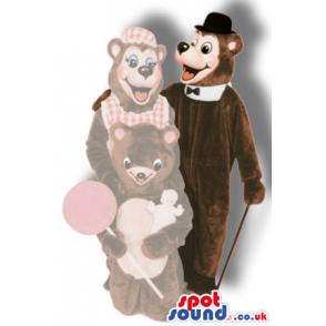 Brown Bear Animal Plush Mascot Wearing An Elegant Top Hat -